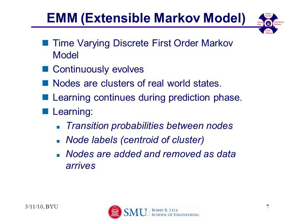 3/11/10, BYU7 EMM (Extensible Markov Model) nTime Varying Discrete First Order Markov Model nContinuously evolves nNodes are clusters of real world states.