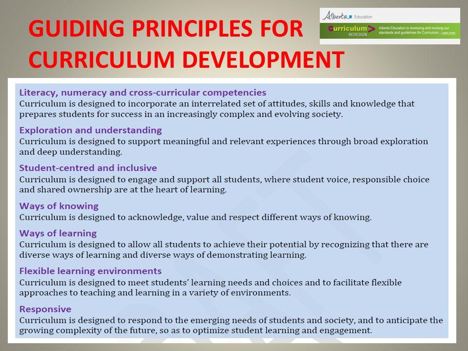 GUIDING PRINCIPLES FOR CURRICULUM DEVELOPMENT