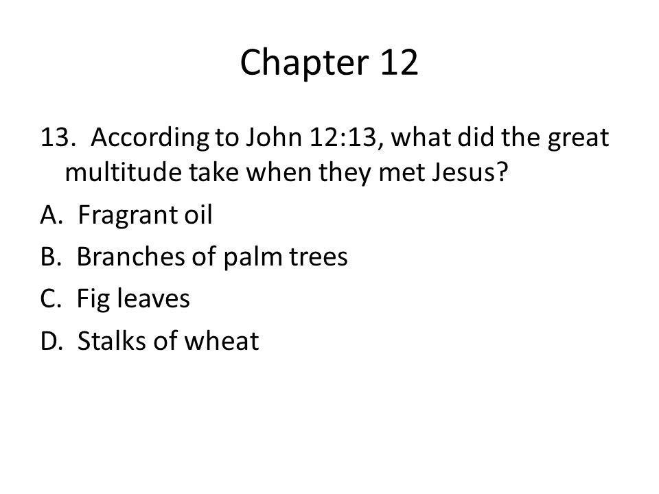 Chapter 12 13. According to John 12:13, what did the great multitude take when they met Jesus? A. Fragrant oil B. Branches of palm trees C. Fig leaves