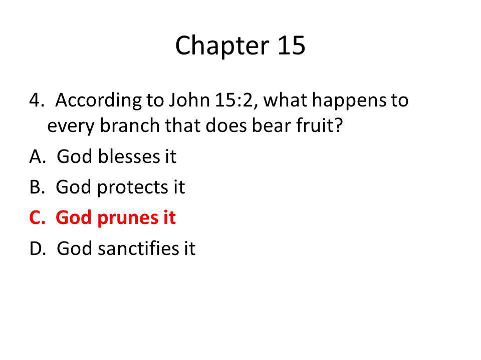 Chapter 15 4. According to John 15:2, what happens to every branch that does bear fruit? A. God blesses it B. God protects it C. God prunes it D. God