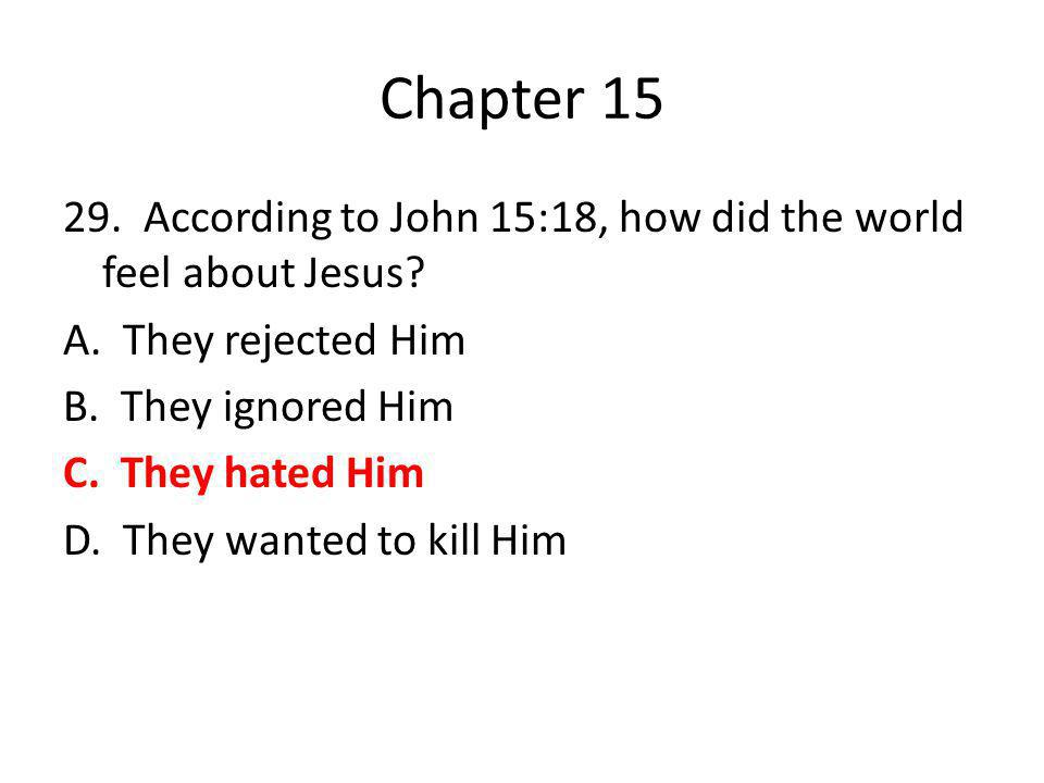 Chapter 15 29. According to John 15:18, how did the world feel about Jesus? A. They rejected Him B. They ignored Him C. They hated Him D. They wanted