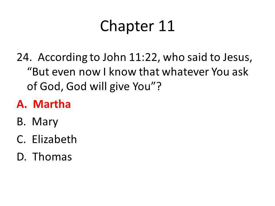 "Chapter 11 24. According to John 11:22, who said to Jesus, ""But even now I know that whatever You ask of God, God will give You""? A. Martha B. Mary C."