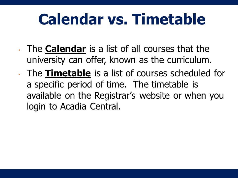 Calendar vs.