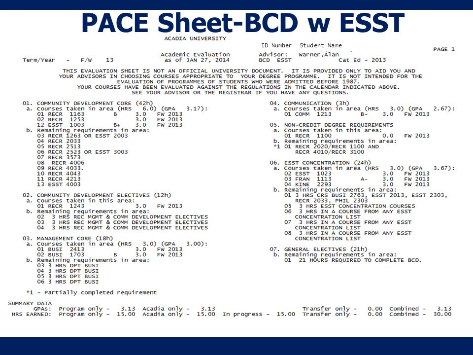 PACE Sheet-BCD w ESST ID Number Student Name