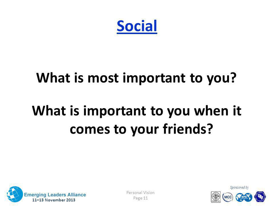 11–13 November 2013 Personal Vision Page 11 Sponsored by Social What is most important to you.