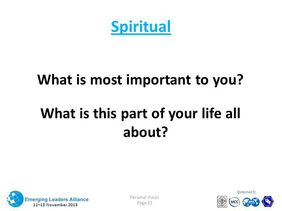 11–13 November 2013 Personal Vision Page 13 Sponsored by Spiritual What is most important to you.