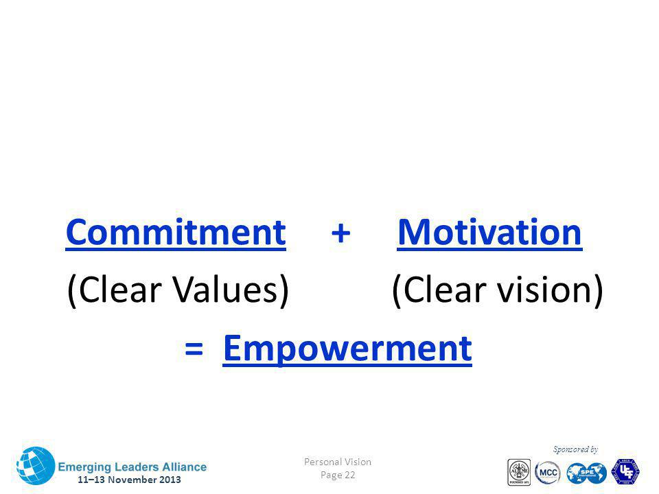 11–13 November 2013 Personal Vision Page 22 Sponsored by Commitment + Motivation (Clear Values) (Clear vision) = Empowerment