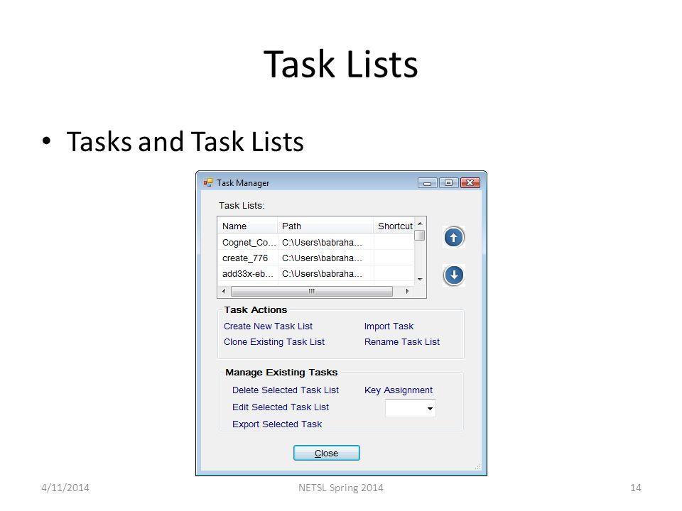 Task Lists Tasks and Task Lists 4/11/201414NETSL Spring 2014