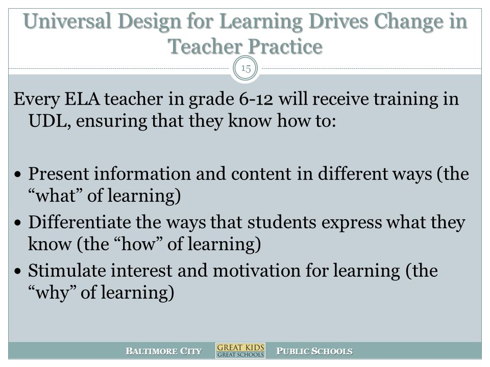 B ALTIMORE C ITY P UBLIC S CHOOLS Universal Design for Learning Drives Change in Teacher Practice Every ELA teacher in grade 6-12 will receive training in UDL, ensuring that they know how to: Present information and content in different ways (the what of learning) Differentiate the ways that students express what they know (the how of learning) Stimulate interest and motivation for learning (the why of learning) 15