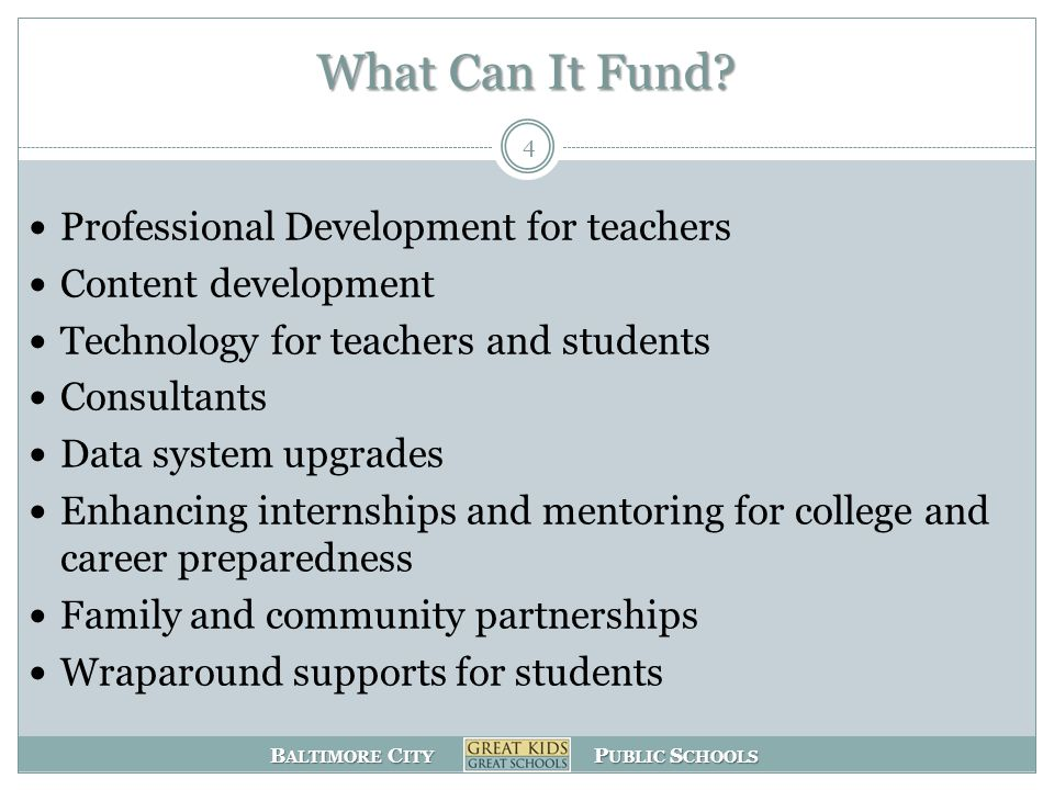 B ALTIMORE C ITY P UBLIC S CHOOLS What Can It Fund.