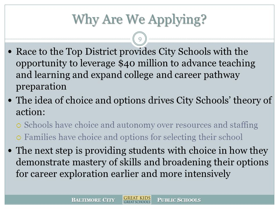 B ALTIMORE C ITY P UBLIC S CHOOLS Solution - Addressing the College and Career Preparedness of 6 th – 12 th Grade Students Creating Pathways of Student Progression – from broad skills and interests to specialized skill sets  A shift in how we look at classroom instruction  Personalized plans for student growth by year and long term with parent involvement  Technology access and personalization  Teacher Development  Internships (exploring career interests earlier)  Mentoring  Additional interventions for students in crisis and approaching crisis 10