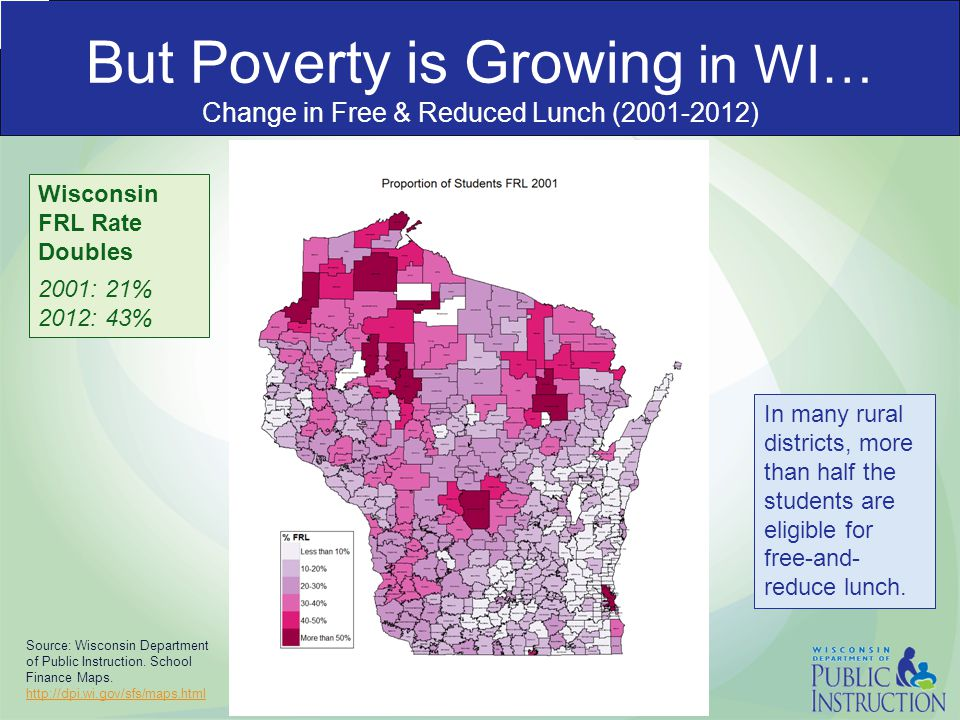But Poverty is Growing in WI… Change in Free & Reduced Lunch (2001-2012) Source: Wisconsin Department of Public Instruction.