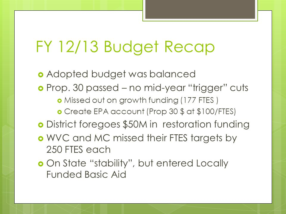 "FY 12/13 Budget Recap  Adopted budget was balanced  Prop. 30 passed – no mid-year ""trigger"" cuts  Missed out on growth funding (177 FTES )  Create"
