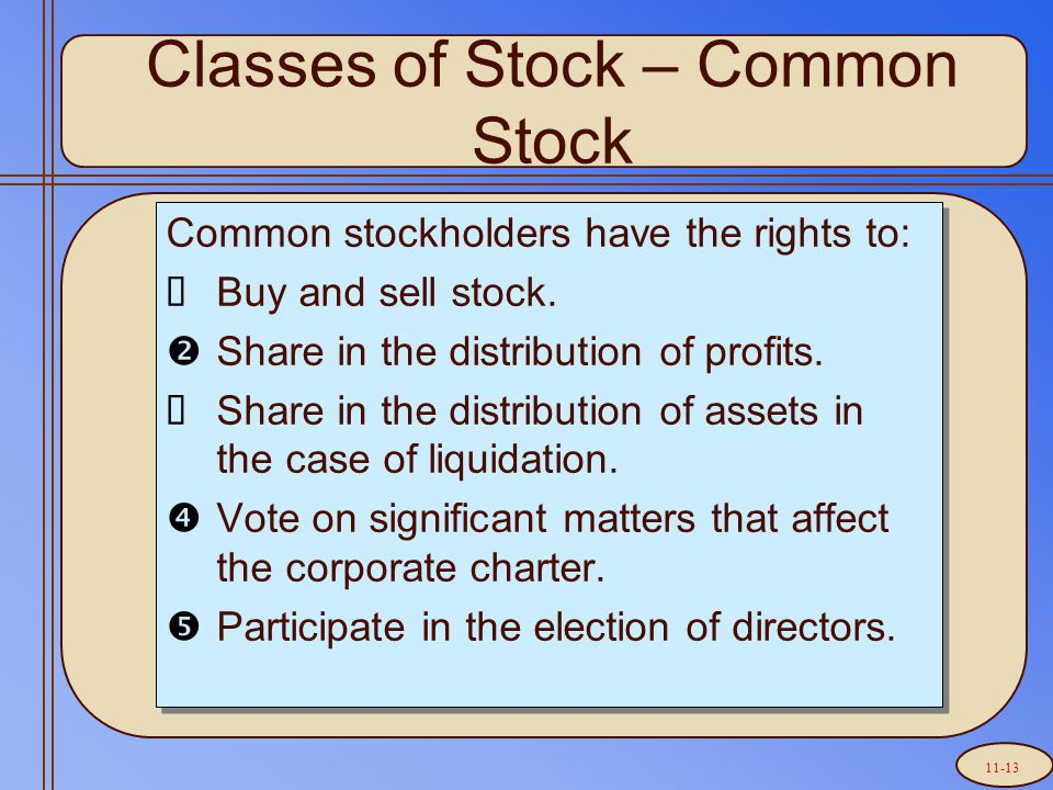 Common stockholders have the rights to:  Buy and sell stock.  Share in the distribution of profits.  Share in the distribution of assets in the cas