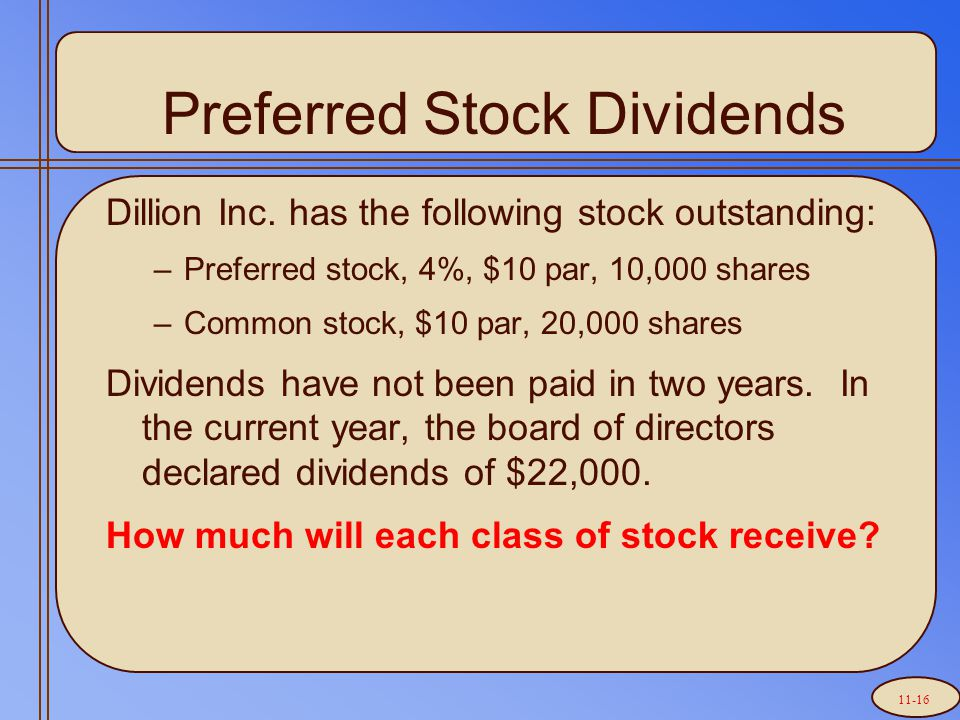 Preferred Stock Dividends Dillion Inc.