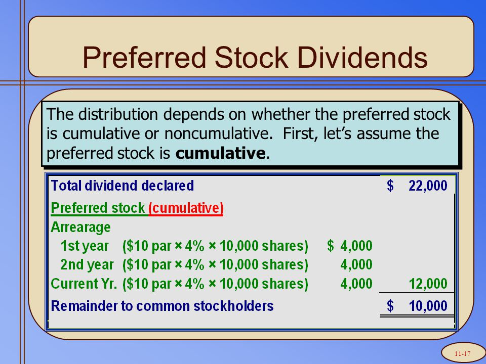 Preferred Stock Dividends The distribution depends on whether the preferred stock is cumulative or noncumulative. First, let's assume the preferred st