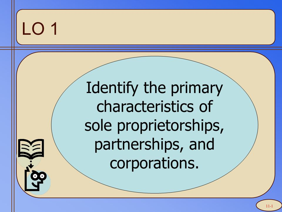 LO 1 Identify the primary characteristics of sole proprietorships, partnerships, and corporations. 11-1