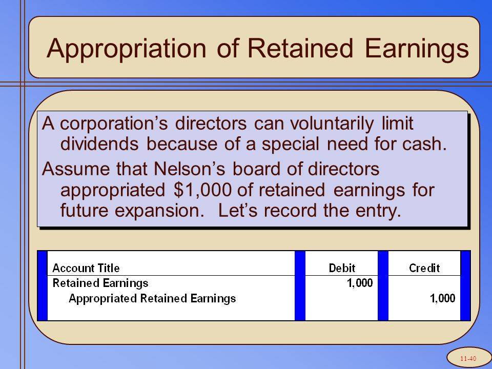 A corporation's directors can voluntarily limit dividends because of a special need for cash.