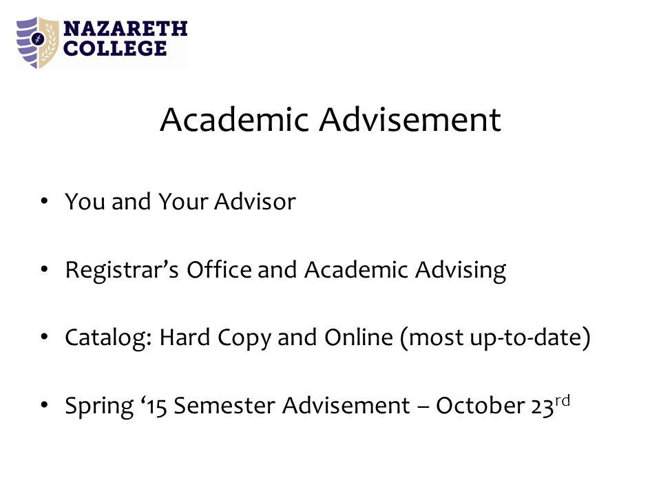 You and Your Advisor Registrar's Office and Academic Advising Catalog: Hard Copy and Online (most up-to-date) Spring '15 Semester Advisement – October 23 rd