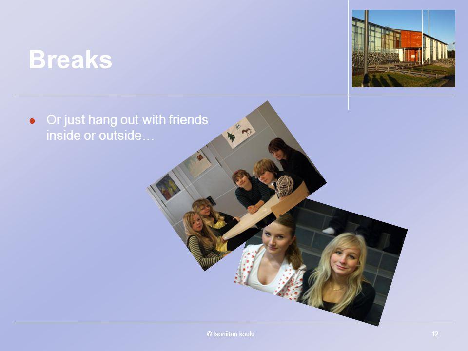 © Isoniitun koulu12 Breaks Or just hang out with friends inside or outside…