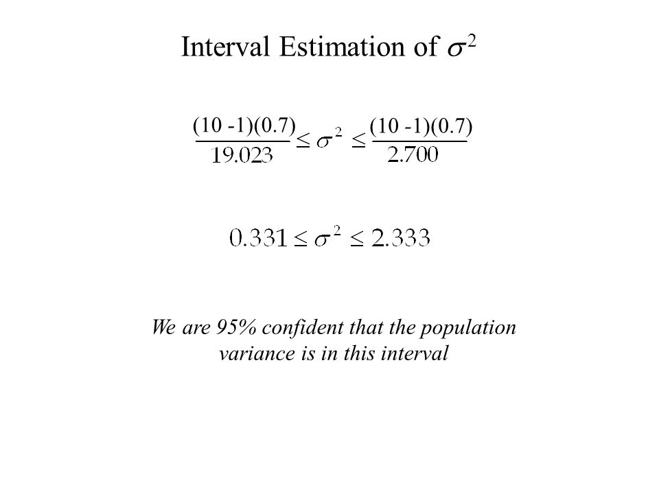 (10 -1)(0.7)   We are 95% confident that the population variance is in this interval
