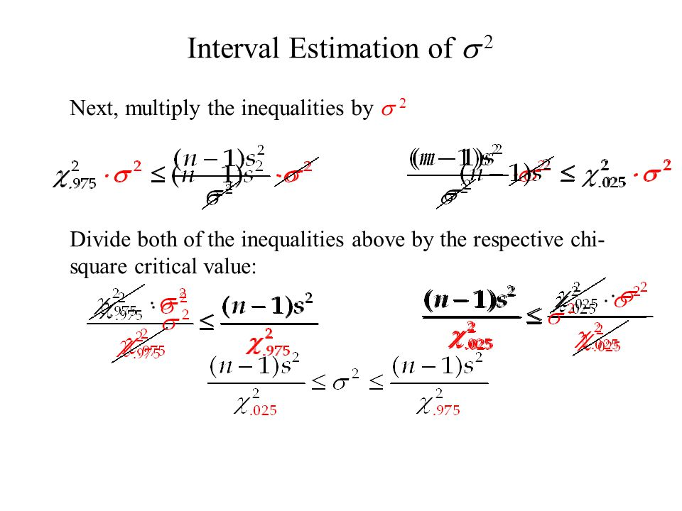 Next, multiply the inequalities by  2 Divide both of the inequalities above by the respective chi- square critical value: Interval Estimation of  2
