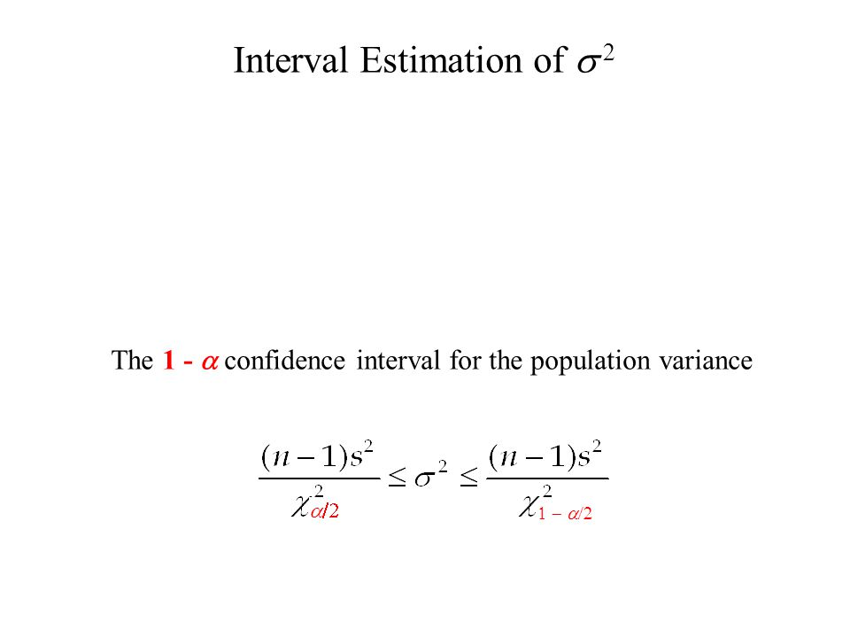 Interval Estimation of  2   The 1 -  confidence interval for the population variance