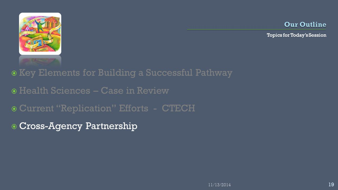 Topics for Today's Session  Key Elements for Building a Successful Pathway  Health Sciences – Case in Review  Current Replication Efforts - CTECH  Cross-Agency Partnership 11/13/