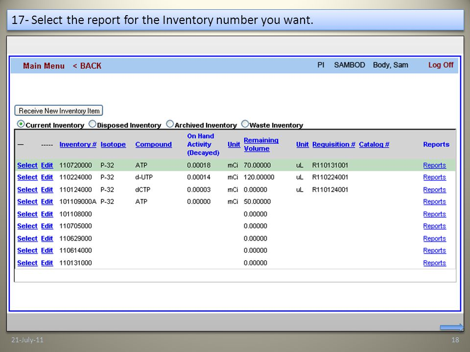 17- Select the report for the Inventory number you want. 21-July-1118