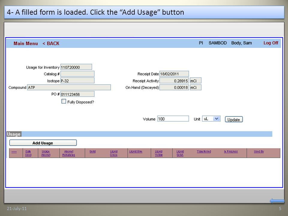 15- Click the BACK button 21-July-1116