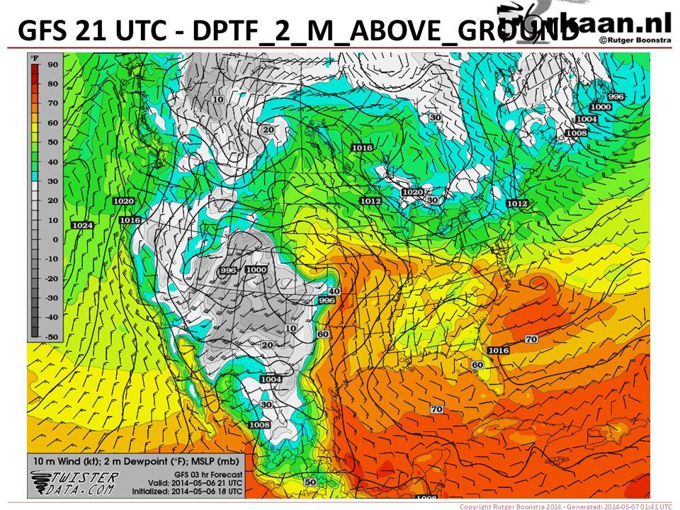 GFS 21 UTC - DPTF_2_M_ABOVE_GROUND Copyright Rutger Boonstra 2014 - Generated: 2014-05-07 01:41 UTC