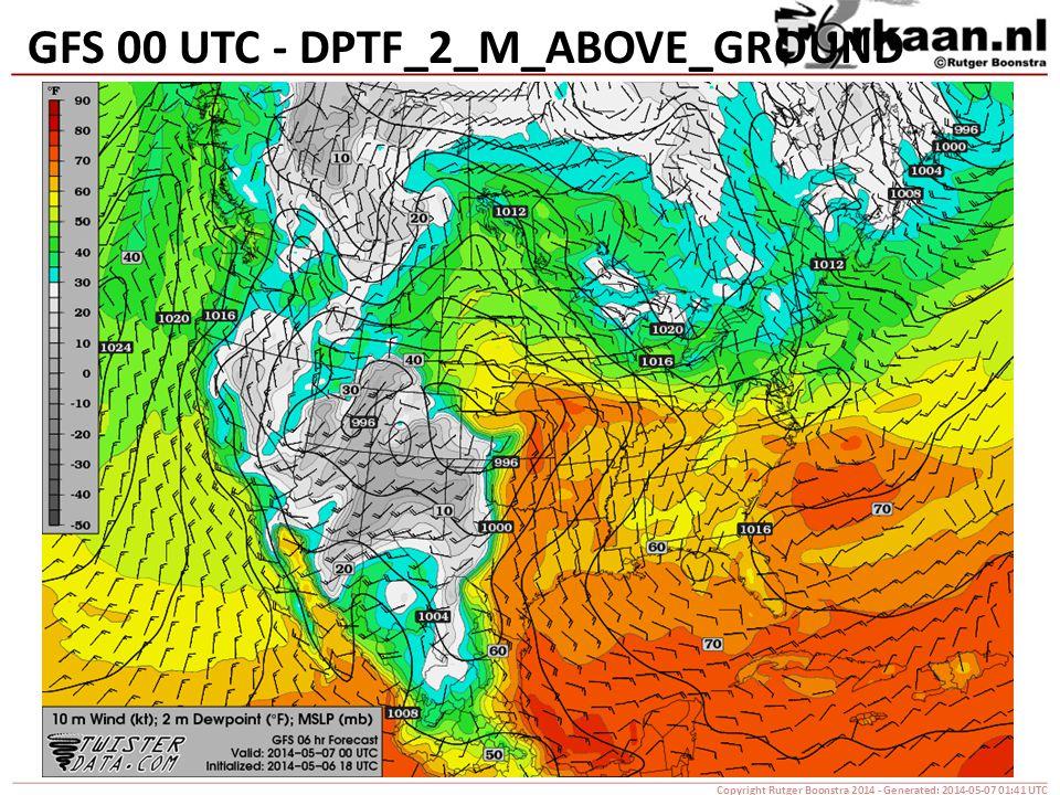 GFS 00 UTC - DPTF_2_M_ABOVE_GROUND Copyright Rutger Boonstra 2014 - Generated: 2014-05-07 01:41 UTC