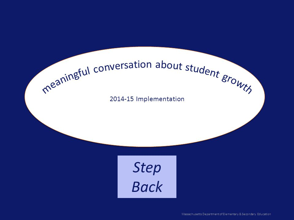 Massachusetts Department of Elementary & Secondary Education Step Back 2014-15 Implementation