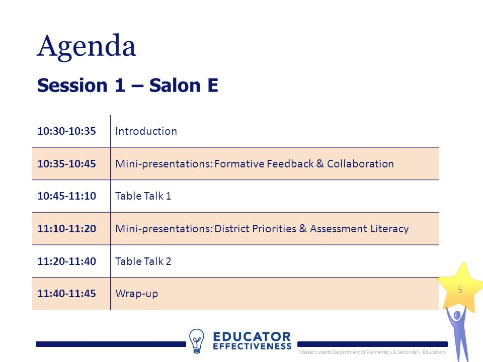 Massachusetts Department of Elementary & Secondary Education 5 Agenda Session 1 – Salon E 10:30-10:35Introduction 10:35-10:45Mini-presentations: Formative Feedback & Collaboration 10:45-11:10Table Talk 1 11:10-11:20Mini-presentations: District Priorities & Assessment Literacy 11:20-11:40Table Talk 2 11:40-11:45Wrap-up