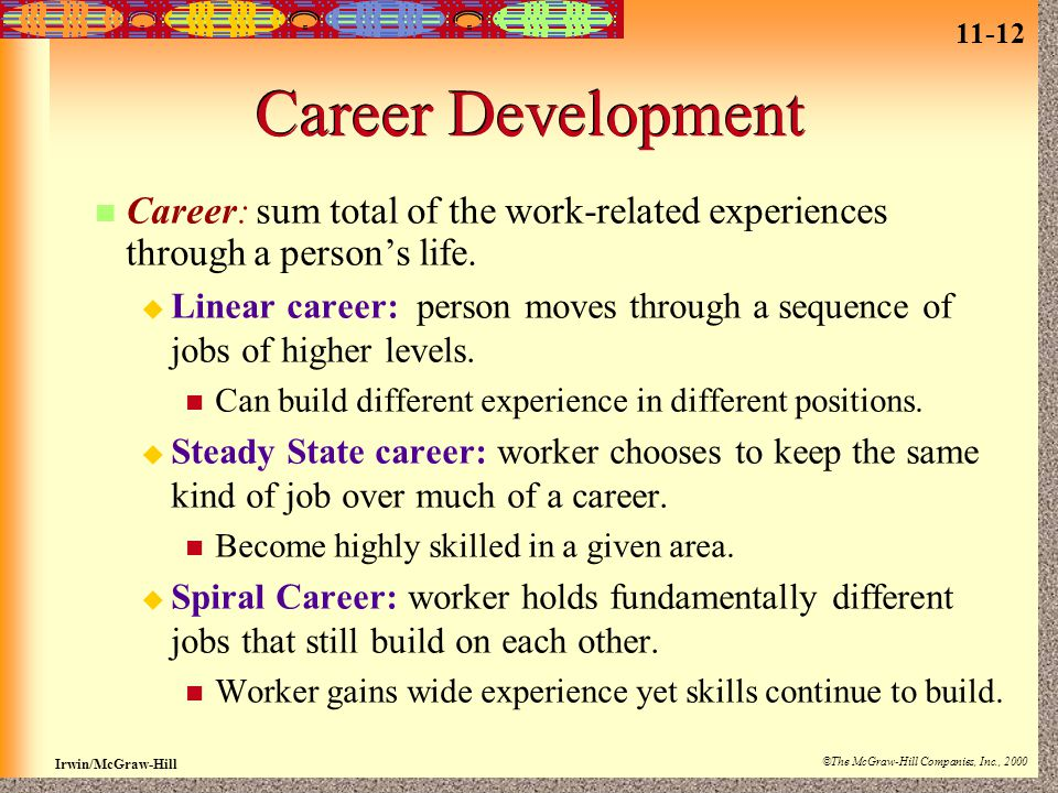 11-12 Irwin/McGraw-Hill ©The McGraw-Hill Companies, Inc., 2000 Career Development Career: sum total of the work-related experiences through a person's