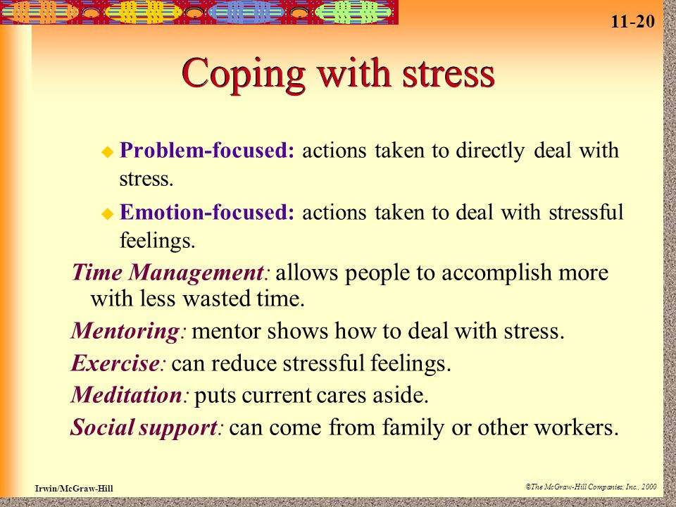 11-20 Irwin/McGraw-Hill ©The McGraw-Hill Companies, Inc., 2000 Coping with stress  Problem-focused: actions taken to directly deal with stress.