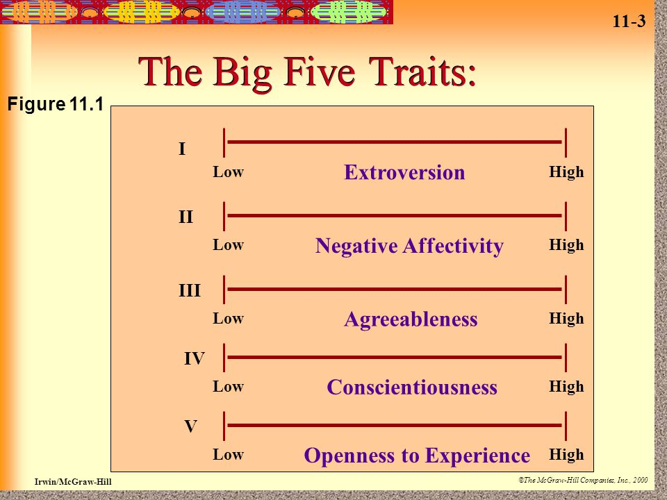 11-3 Irwin/McGraw-Hill ©The McGraw-Hill Companies, Inc., 2000 The Big Five Traits: LowHigh Extroversion LowHigh Negative Affectivity LowHigh Agreeable