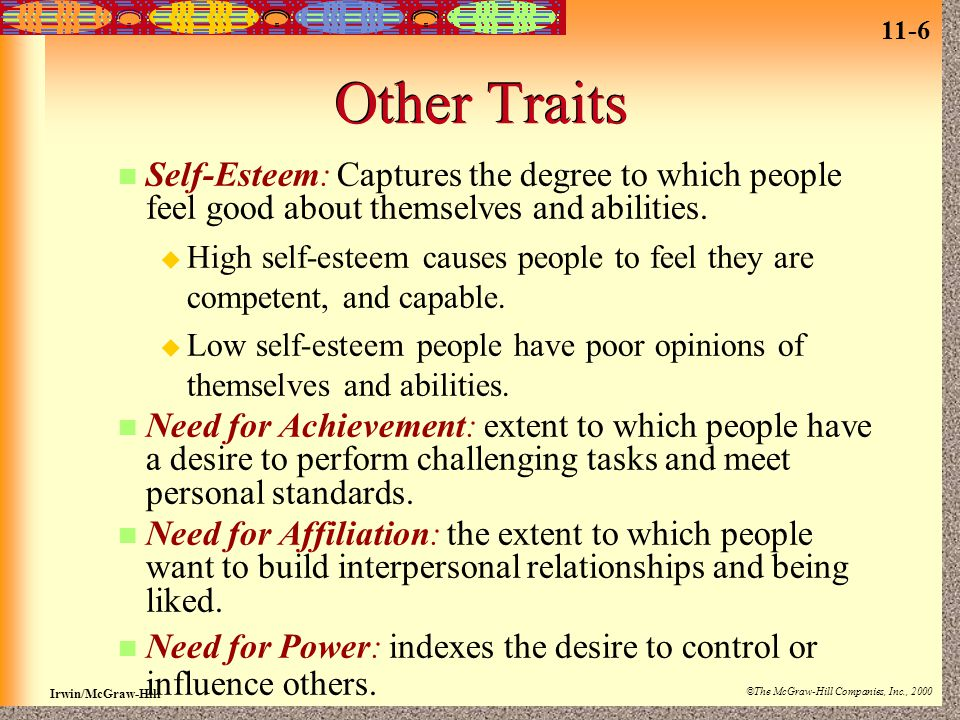 11-6 Irwin/McGraw-Hill ©The McGraw-Hill Companies, Inc., 2000 Other Traits Self-Esteem: Captures the degree to which people feel good about themselves and abilities.