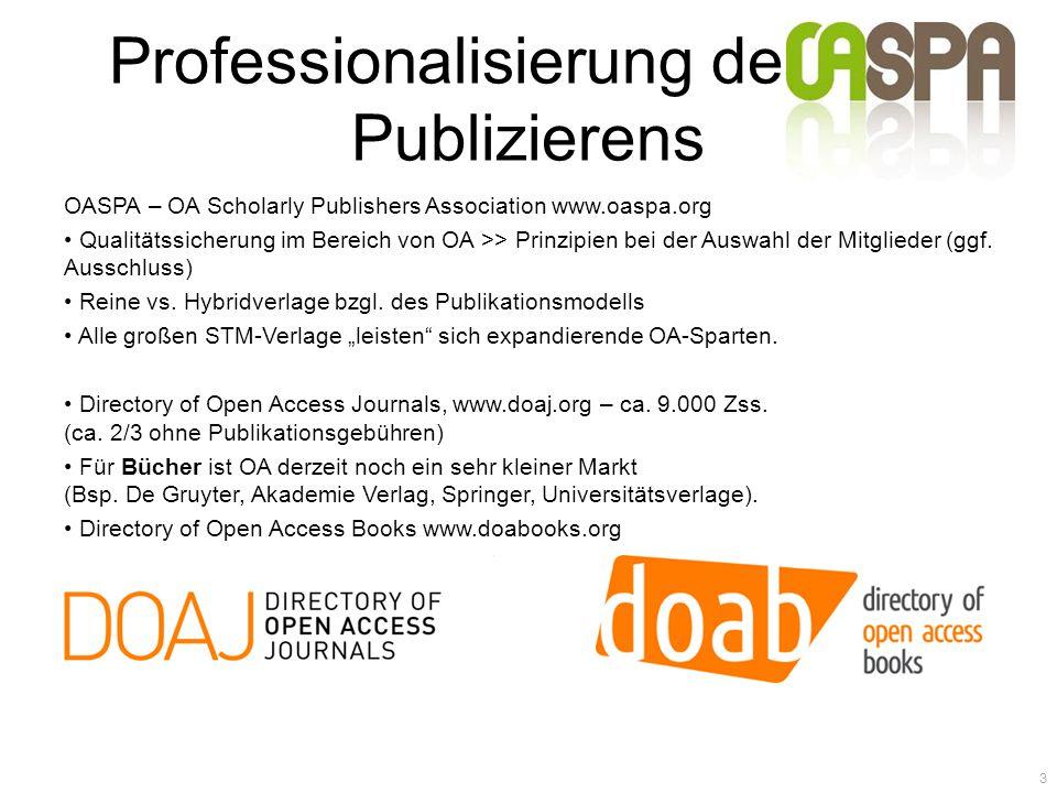 Professionalisierung des OA- Publizierens OASPA – OA Scholarly Publishers Association www.oaspa.org Qualitätssicherung im Bereich von OA >> Prinzipien bei der Auswahl der Mitglieder (ggf.