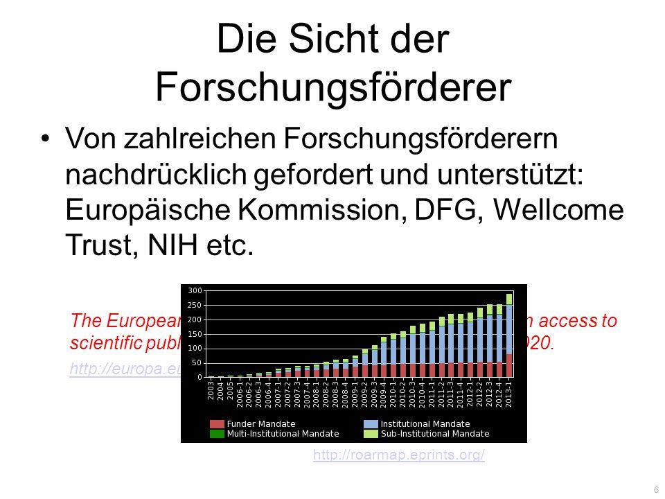 Die Sicht der Forschungsförderer Von zahlreichen Forschungsförderern nachdrücklich gefordert und unterstützt: Europäische Kommission, DFG, Wellcome Trust, NIH etc.