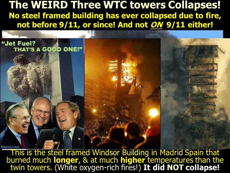 See the Squibs everywhere? This is above the impact area, where there was hardly any fire! Hmm.. The WEIRD Three WTC towers Collapses! No steel framed