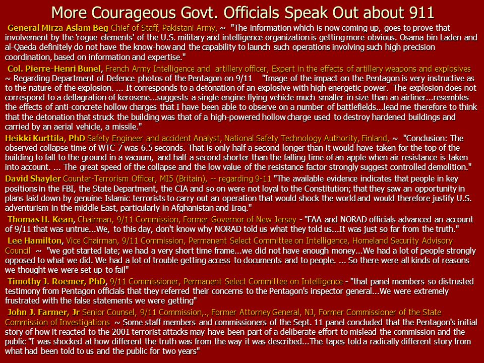 More Courageous Govt. Officials Speak Out about 911 General Mirza Aslam Beg Chief of Staff, Pakistani Army, ~