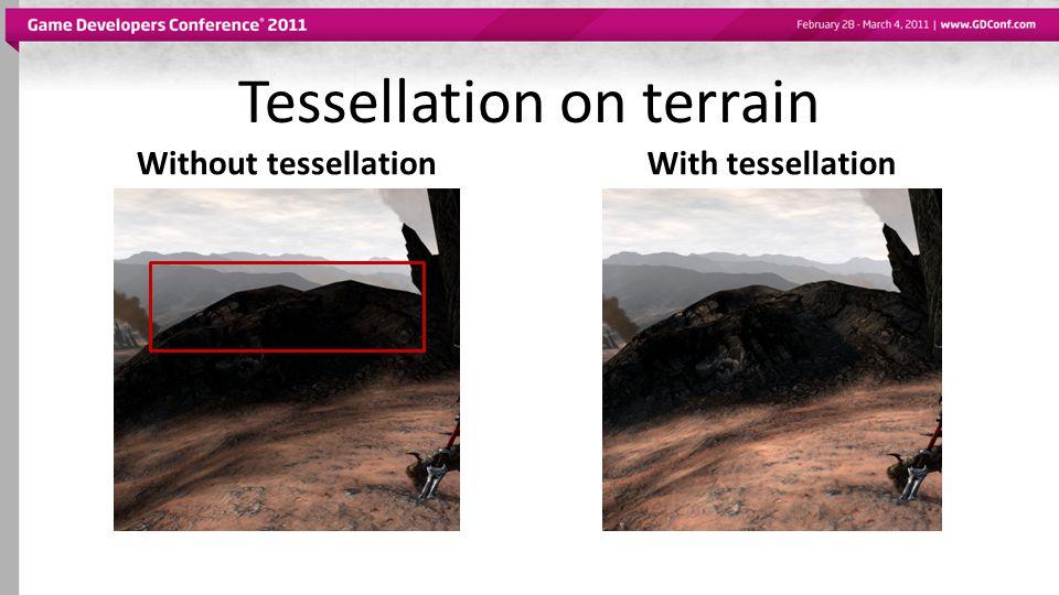 Tessellation on terrain Without tessellationWith tessellation