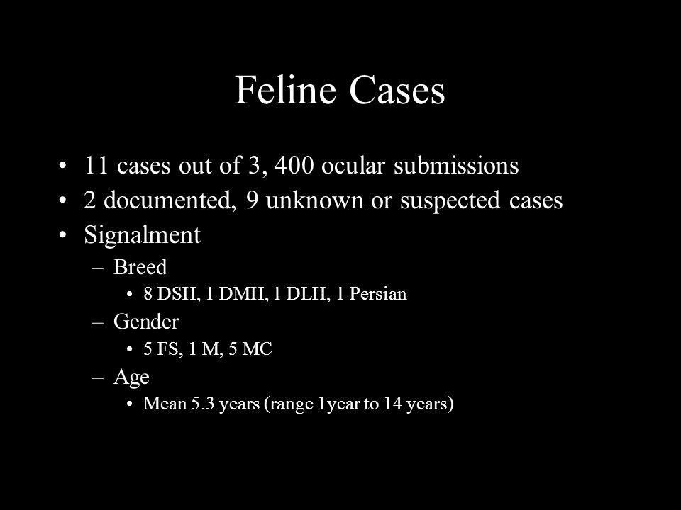 Feline Cases 11 cases out of 3, 400 ocular submissions 2 documented, 9 unknown or suspected cases Signalment –Breed 8 DSH, 1 DMH, 1 DLH, 1 Persian –Gender 5 FS, 1 M, 5 MC –Age Mean 5.3 years (range 1year to 14 years)