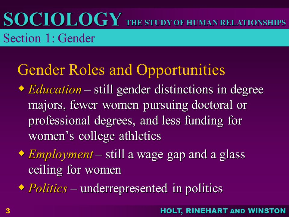 THE STUDY OF HUMAN RELATIONSHIPS SOCIOLOGY HOLT, RINEHART AND WINSTON 4 Gender Roles and Socialization  In virtually all societies, gender socialization begins at birth and continues throughout life  Children learn American gender-role behaviors through socialization such as in the family or at school Section 1: Gender