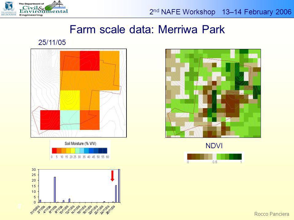 2 nd NAFE Workshop 13–14 February 2006 g Rocco Panciera Farm scale data: Merriwa Park 00.51 NDVI 02/11/0504/11/0509/11/0516/11/0518/11/05 23/11/05 25/11/05