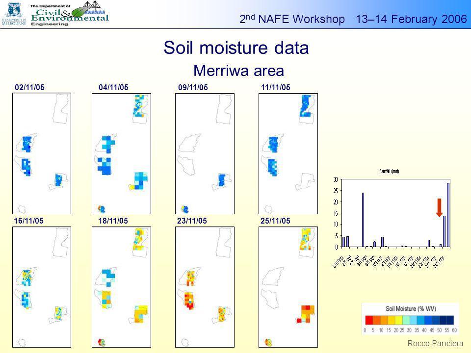 2 nd NAFE Workshop 13–14 February 2006 g Rocco Panciera Soil moisture data Merriwa area 02/11/0504/11/0509/11/0511/11/05 16/11/0518/11/0523/11/0525/11/05