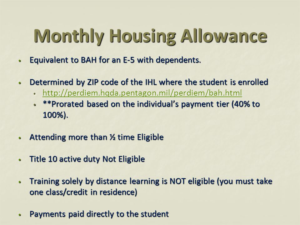 Monthly Housing Allowance Equivalent to BAH for an E-5 with dependents. Equivalent to BAH for an E-5 with dependents. Determined by ZIP code of the IH