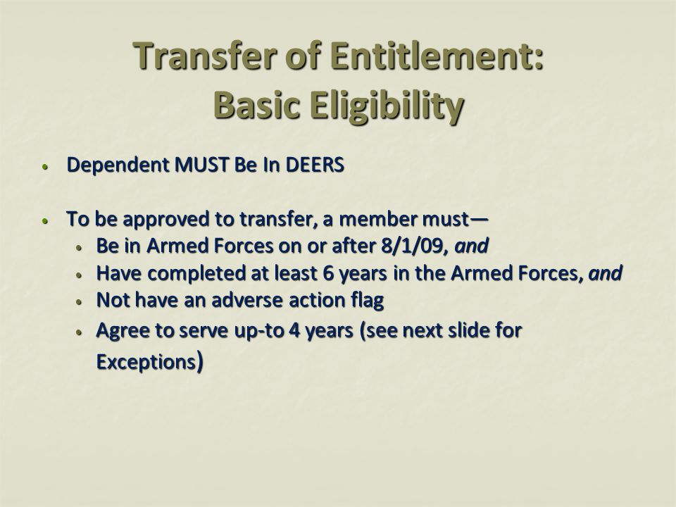 Exceptions Retirement Eligible Members Retirement Eligibility Service Obligation Eligible to retire or 20 year's of service on 01 Aug 09None Approved to retire between 02 Aug 09 and 30 Jun 2010None Eligible to retire or 20 year's of service between 02 Aug 09 and before 1 August 2010 1 year Eligible to retire or 20 year's of service between 02 Aug 2010 and before 1 August 2011 2 years Eligible to retire or 20 year's of service between 02 Aug 2011 and before 1 August 2012 3 years All others4 years