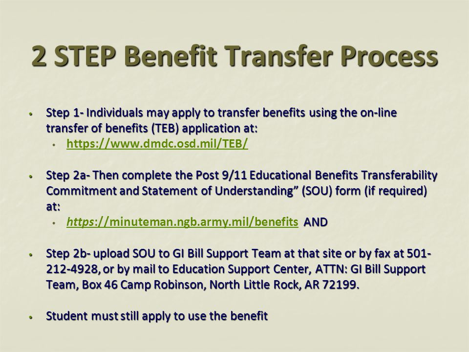 2 STEP Benefit Transfer Process Step 1- Individuals may apply to transfer benefits using the on-line transfer of benefits (TEB) application at: Step 1